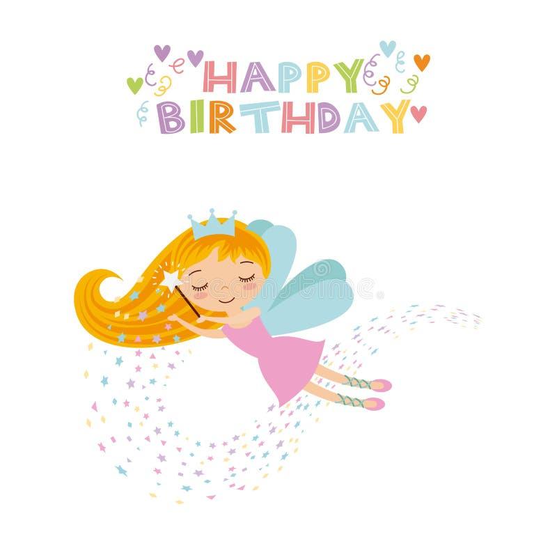 Carte d'anniversaire féerique illustration stock
