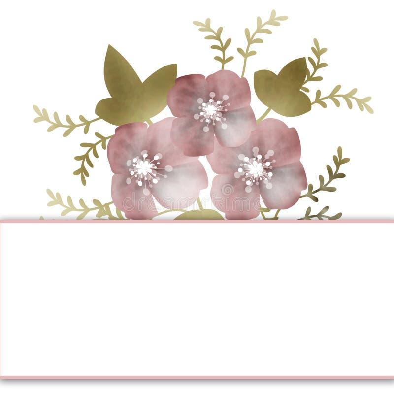 Carte d'anniversaire florale d'invitation ou de mariage de fond de cadre illustration libre de droits