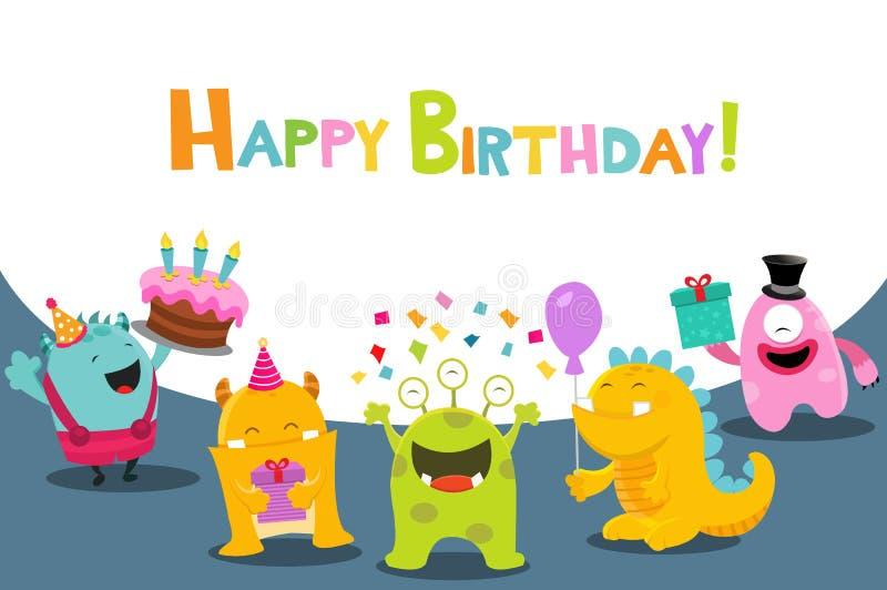 Carte d'anniversaire mignonne avec des monstres illustration de vecteur