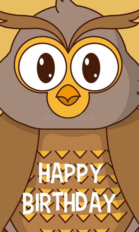 Carte d'anniversaire mignonne de hibou illustration de vecteur