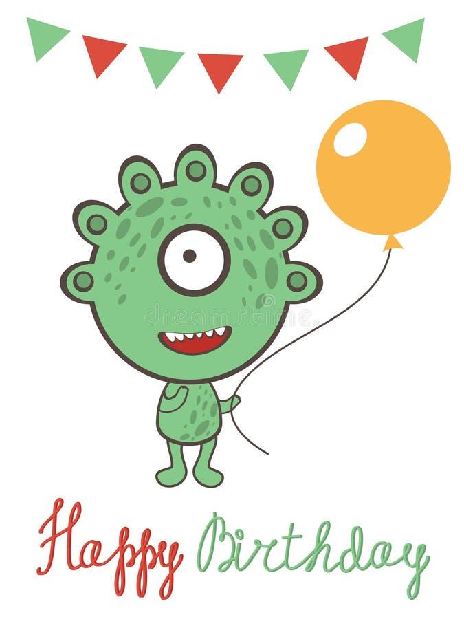 Carte d'anniversaire mignonne de monstre illustration libre de droits