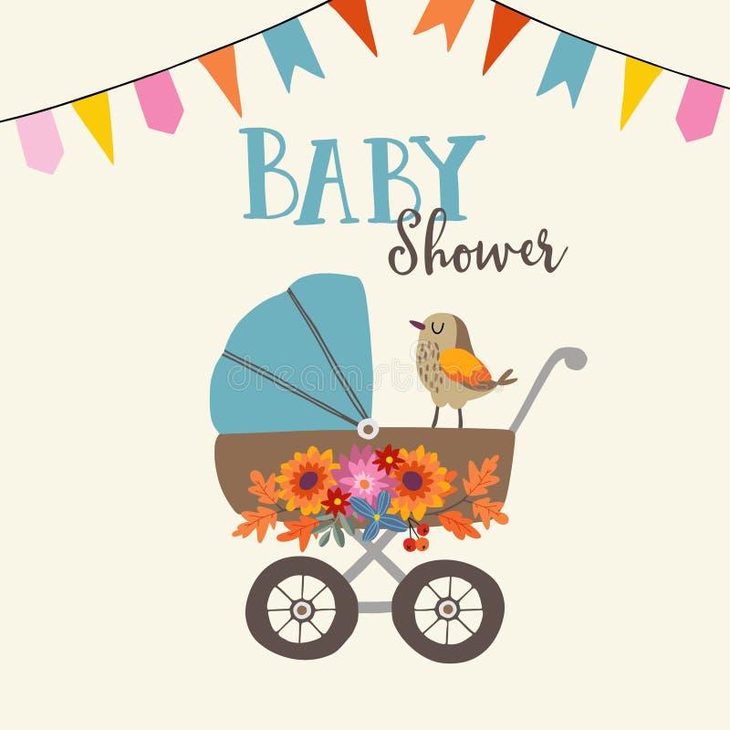 Carte d'anniversaire mignonne d'invitation ou de fête de naissance avec l'oiseau, la voiture d'enfant et les fleurs Fond d'illust illustration de vecteur