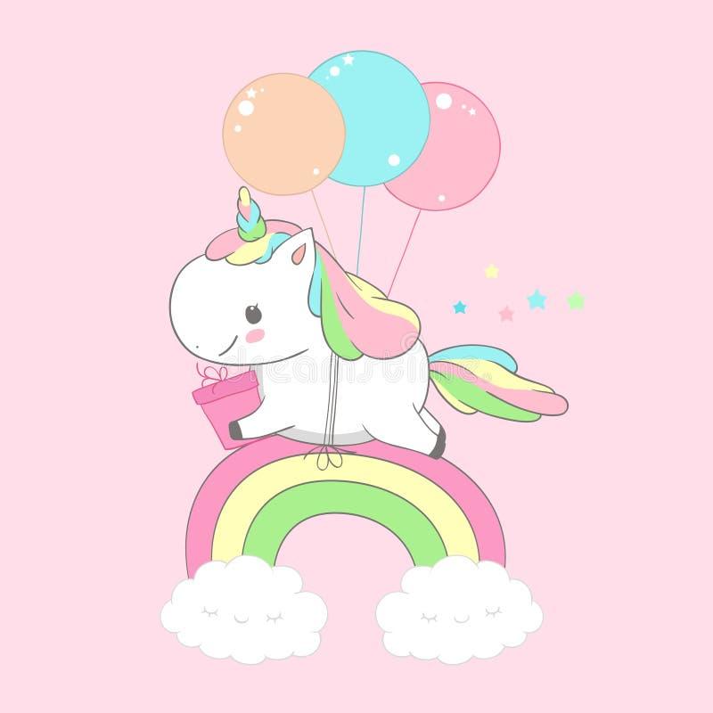 Carte d'anniversaire d'Unicorn Holding Present Over Rainbow Heureux petite Pony Fly sur le ballon Magie de salutation de vacances illustration stock