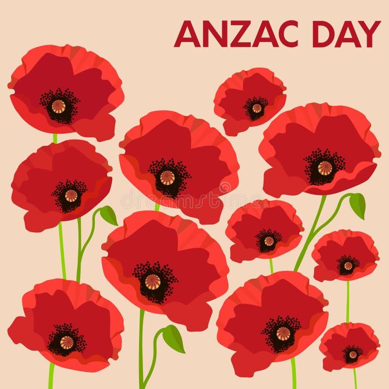 Carte d'Anzac Day avec des pavots illustration libre de droits