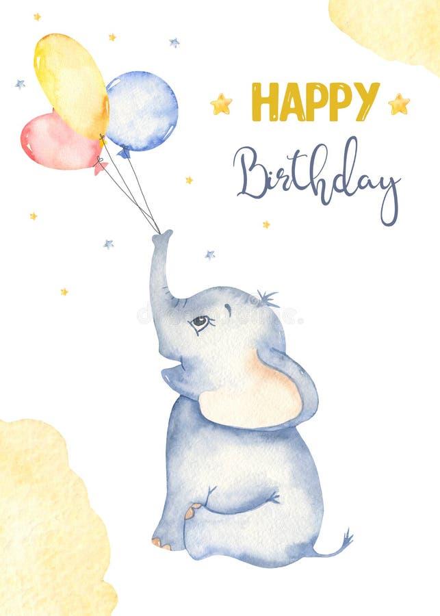Carte d'aquarelle avec adorable dessin animé bébé éléphant et ballons d'air illustration de vecteur