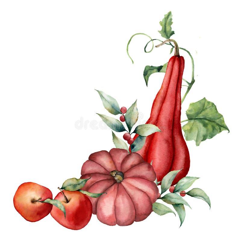 Carte d'aquarelle avec les potirons peints à la main, les airelles rouges, les pommes avec des feuilles et les branches de récolt illustration de vecteur