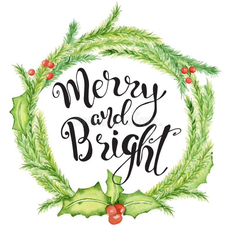 Carte d'aquarelle de Joyeux Noël avec les éléments floraux d'hiver Citation de lettrage de bonne année joyeuse et lumineuse illustration stock