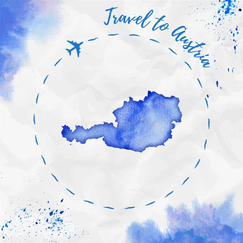 Carte d'aquarelle de l'Autriche dans des couleurs bleues illustration stock