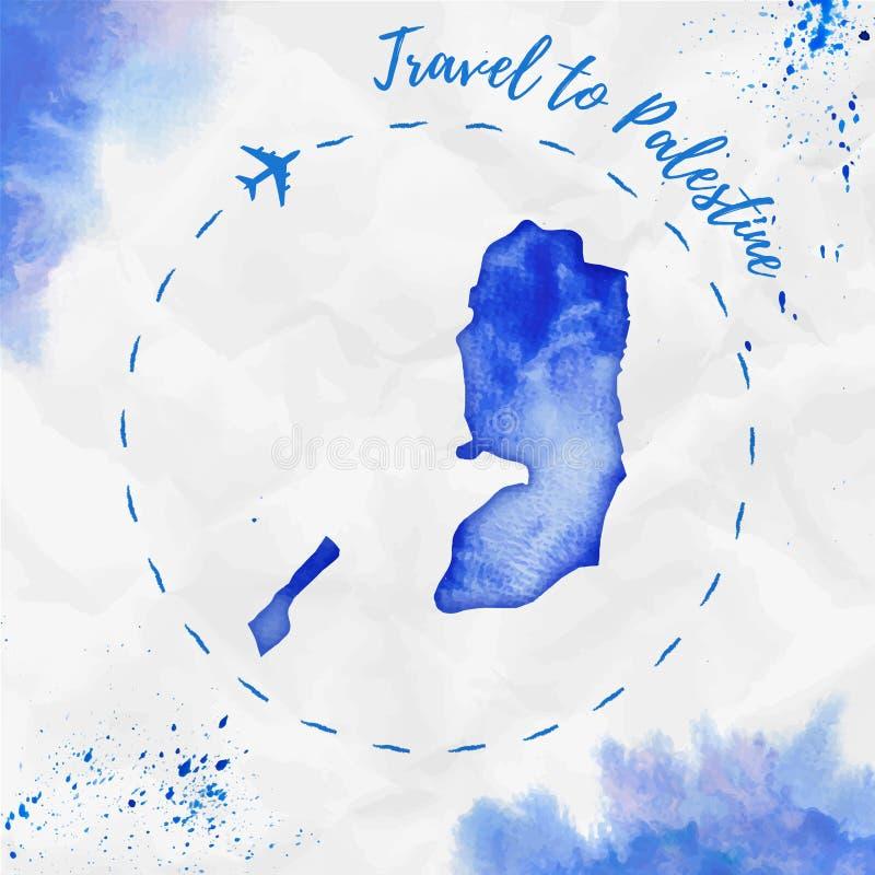 Carte d'aquarelle de la Palestine dans des couleurs bleues illustration de vecteur