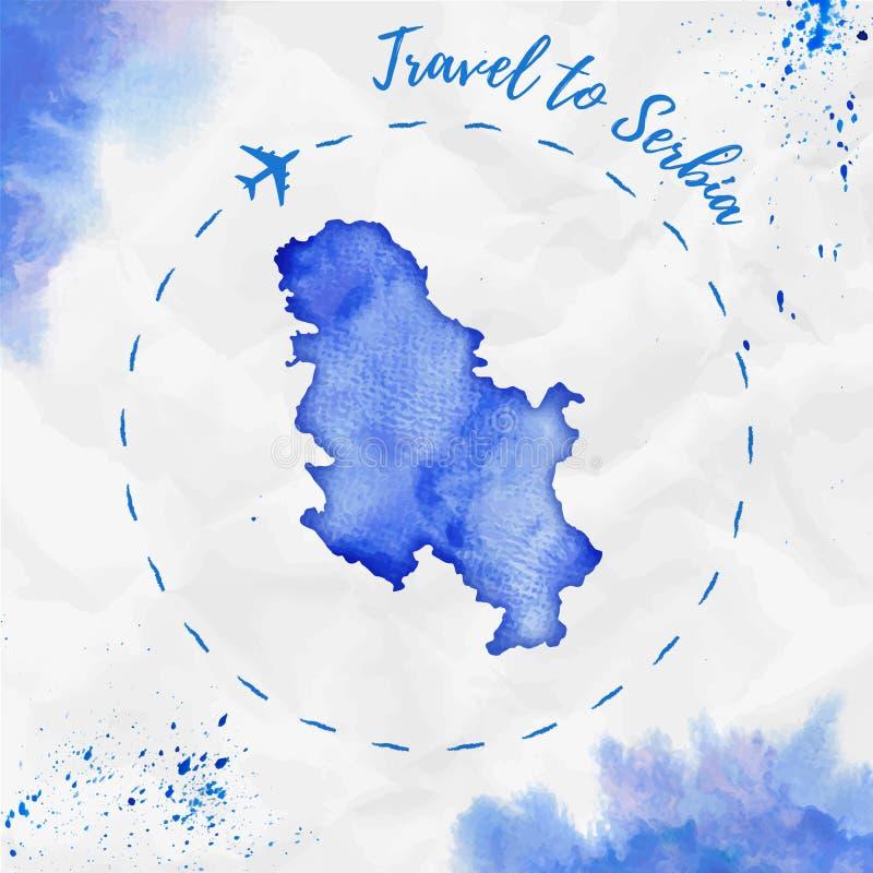 Carte d'aquarelle de la Serbie dans des couleurs bleues illustration libre de droits