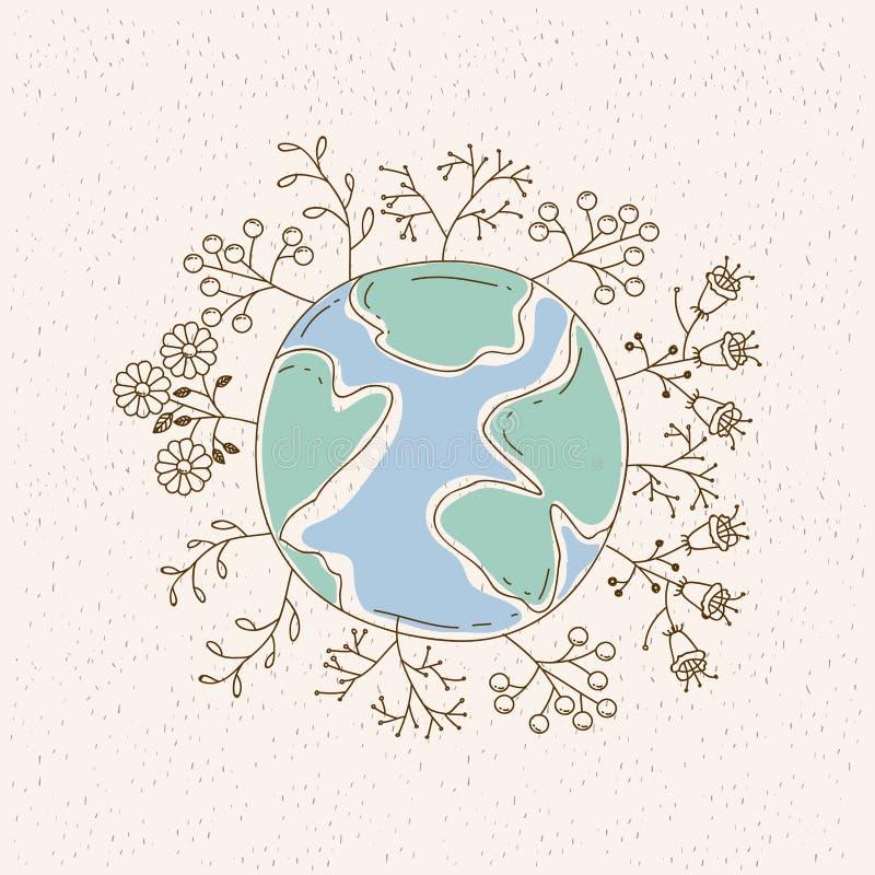 Carte d'aquarelle de la terre de planète entourée par des usines et des arbres illustration stock