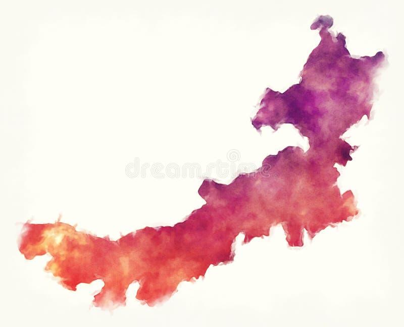 Carte d'aquarelle de province de Neimenggu Inner Mongolia de la Chine dedans pour illustration de vecteur