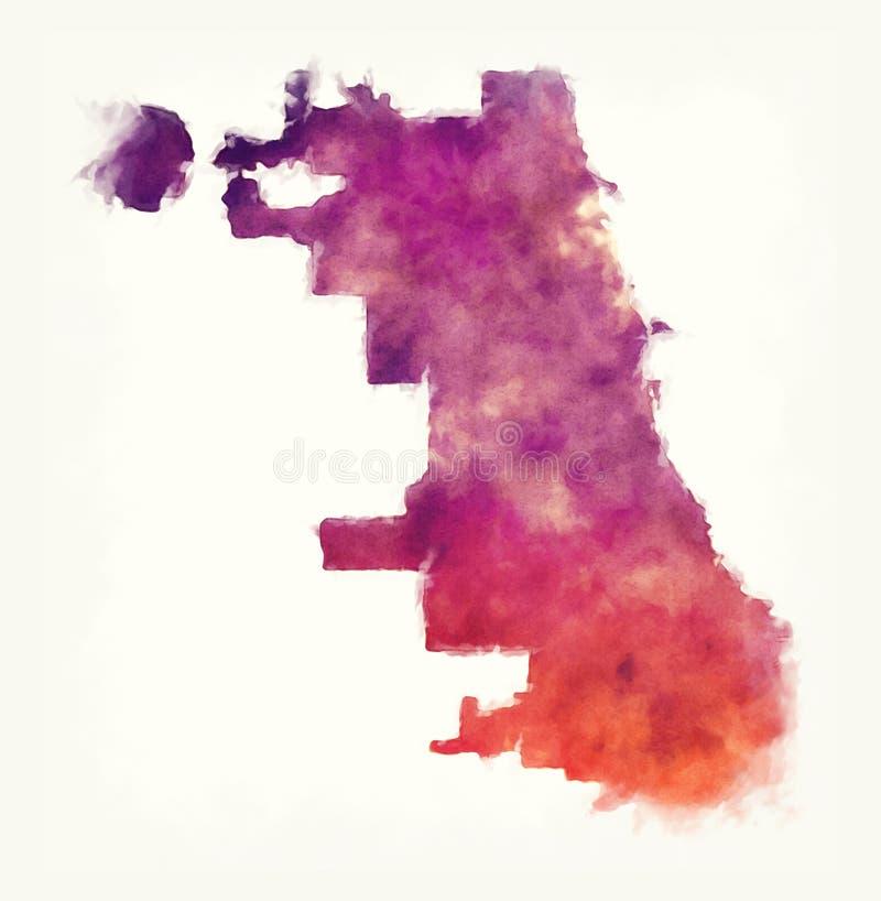 Carte d'aquarelle de ville de Chicago devant un fond blanc illustration de vecteur