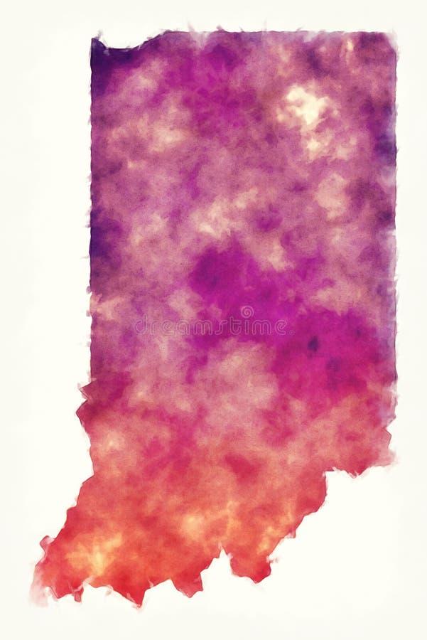 Carte d'aquarelle des Etats-Unis d'état de l'Indiana devant un fond blanc illustration libre de droits