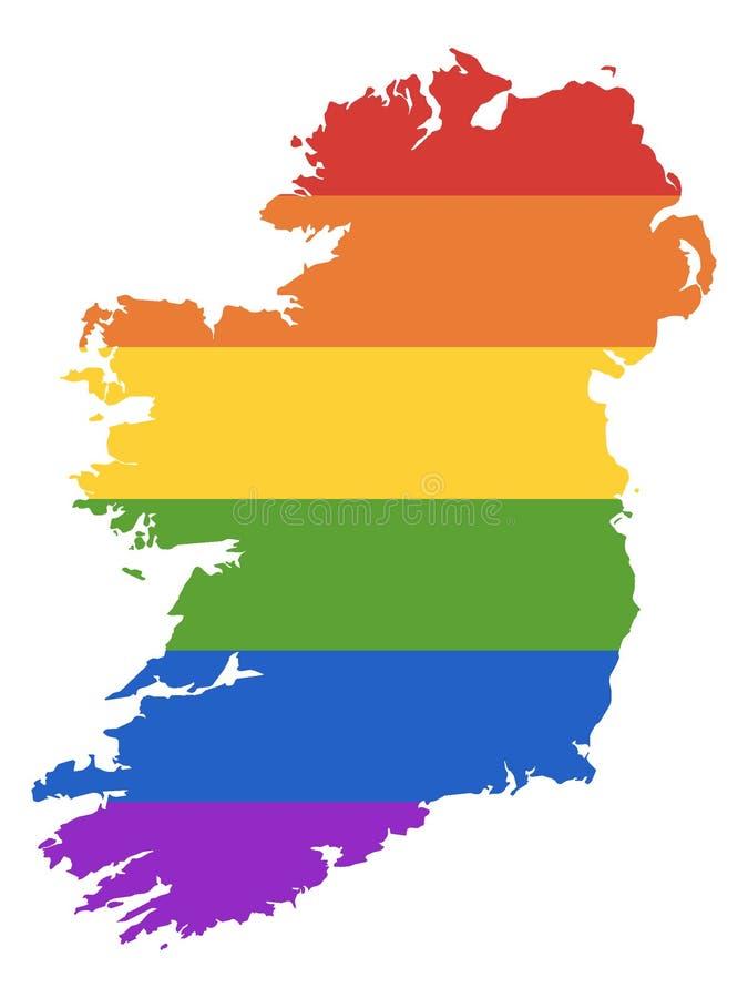Carte d'arc-en-ciel de LGBT de l'Irlande illustration stock