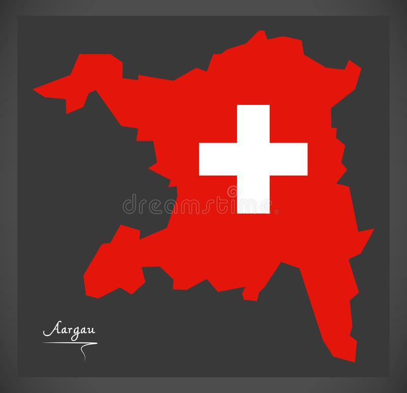 Carte d'Argovie de la Suisse avec l'illustration suisse de drapeau national illustration de vecteur