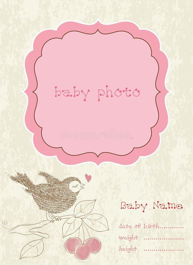 Carte d'arrivée de bébé avec la trame de photo illustration de vecteur