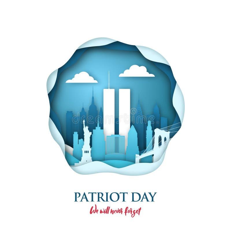 9/11 carte d'art de papier de jour de patriote avec les Tours jumelles dans l'horizon de New York World Trade Center illustration de vecteur