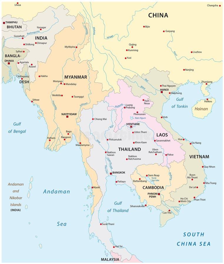 Carte d'Asie du Sud-Est illustration stock. Illustration du bangladesh - 72438319