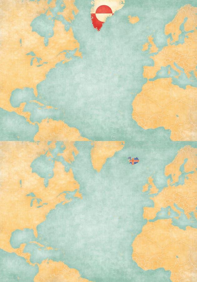 Carte d'Atlantique nord - du Groenland et de l'Islande illustration stock
