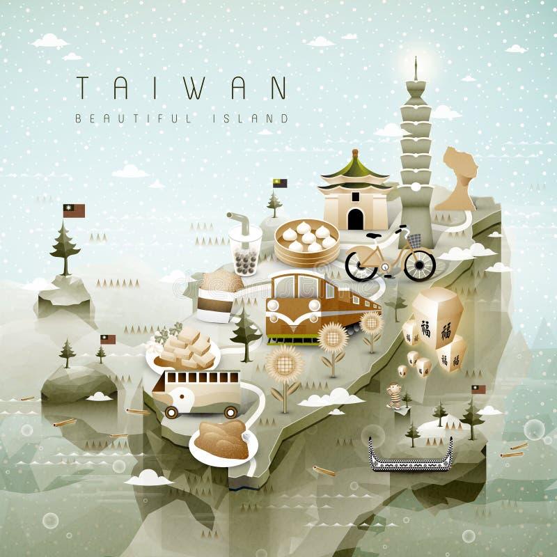 Carte d'attractions de Taïwan illustration libre de droits