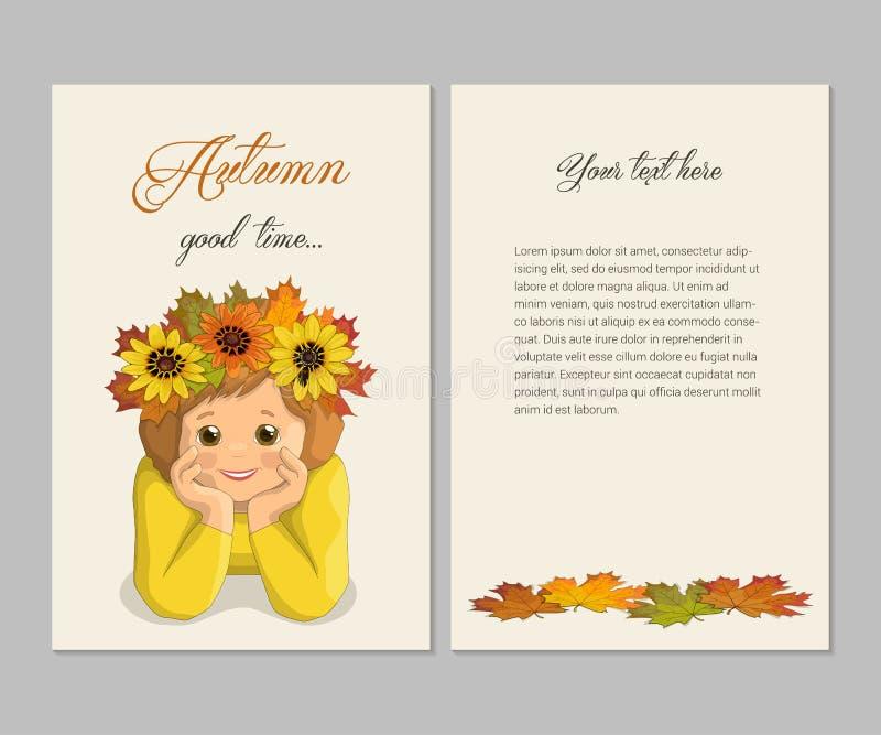 Carte d'automne de fille illustration de vecteur