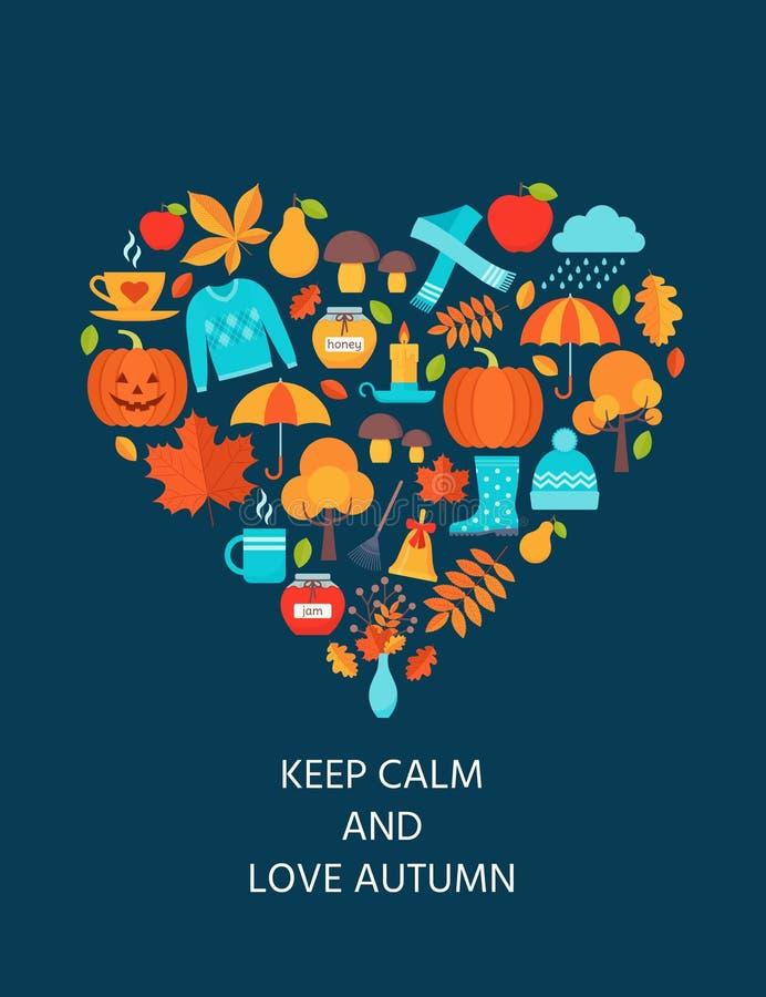 Carte d'automne Illustration de vecteur Carte postale avec des éléments d'automne dans le concept d'amour illustration de vecteur
