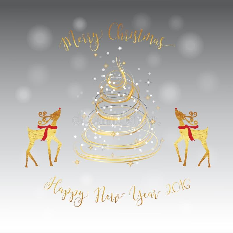 Carte d'or d'argent de cerfs communs d'arbre de Noël illustration stock