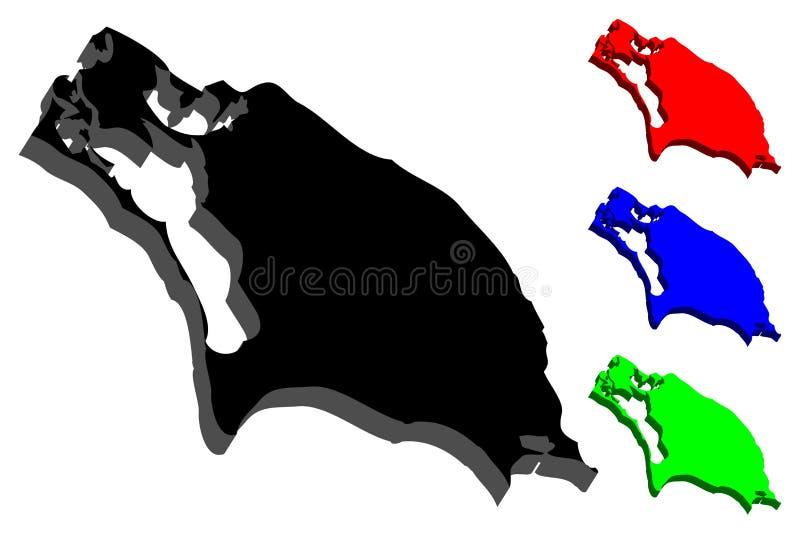 carte 3D de Barbuda illustration de vecteur