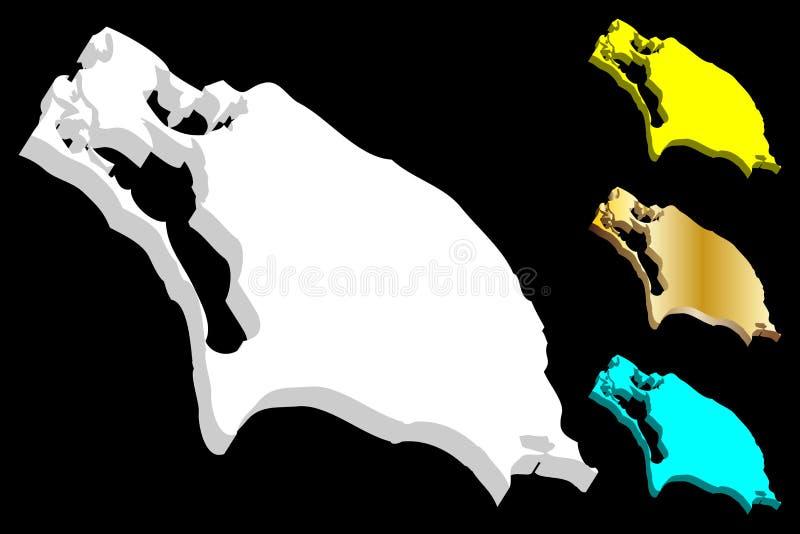 carte 3D de Barbuda illustration libre de droits
