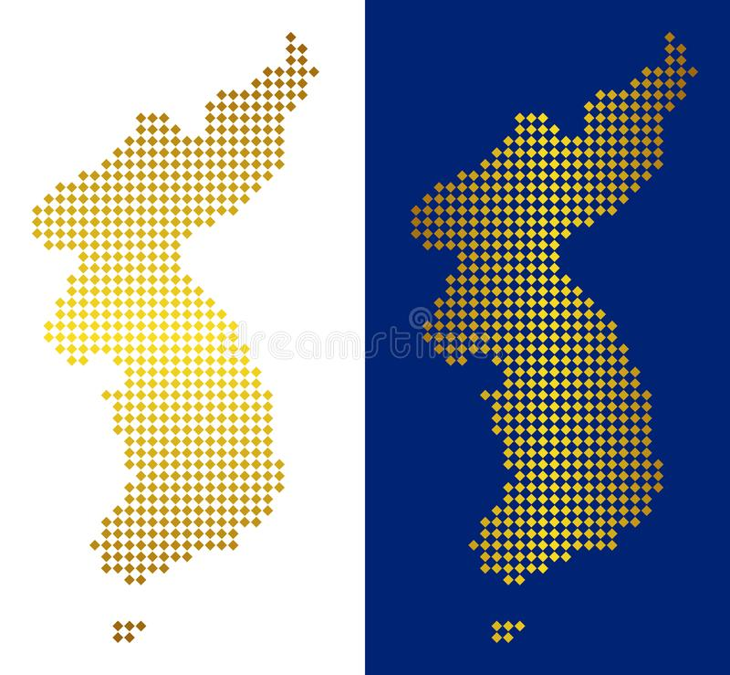 Carte d'or de Dot North And South Korea illustration libre de droits