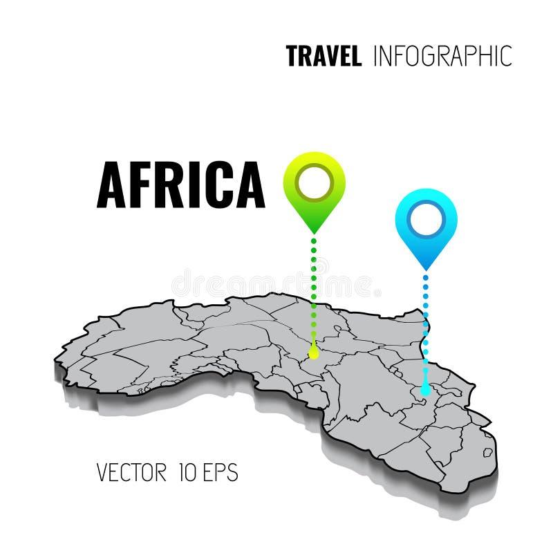 carte 3D de l'Afrique GPS Goupille de navigateur vérifiant la couleur verte sur le fond blanc Infographics pour vos affaires Illu illustration libre de droits