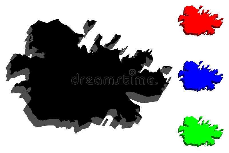 carte 3D de l'Antigua illustration libre de droits
