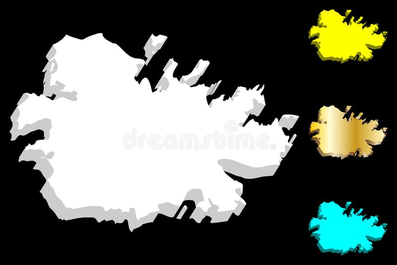 carte 3D de l'Antigua illustration stock
