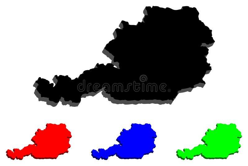 carte 3d de l'Autriche illustration stock