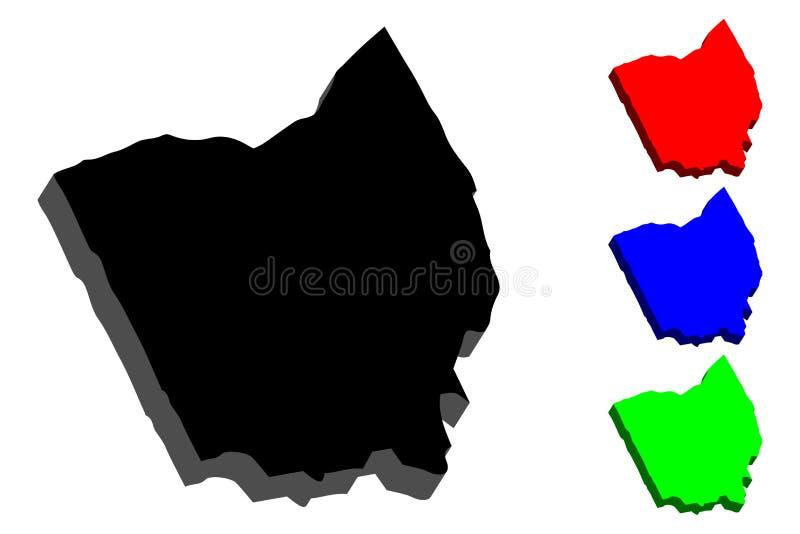 carte 3D de l'Ohio illustration libre de droits