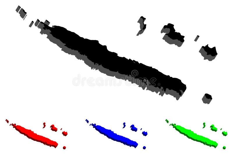 carte 3D de la Nouvelle-Calédonie illustration stock
