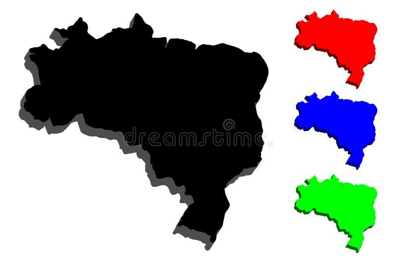 carte 3D du Brésil illustration stock