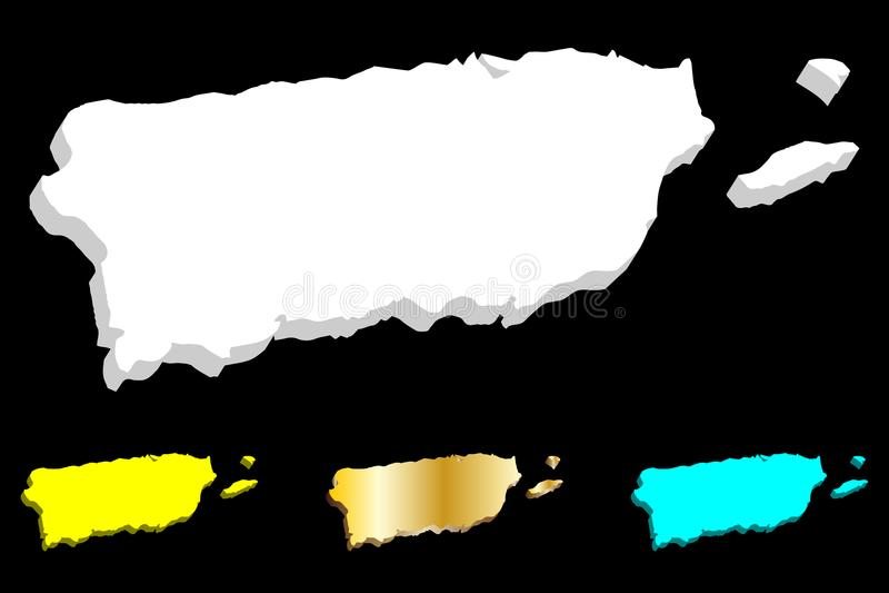 carte 3D du Porto Rico illustration stock