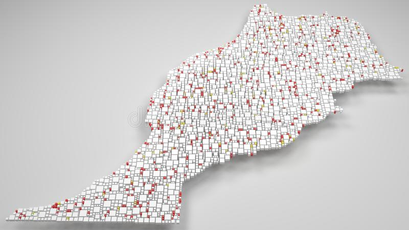 carte 3D du royaume du Maroc - l'Afrique illustration de vecteur