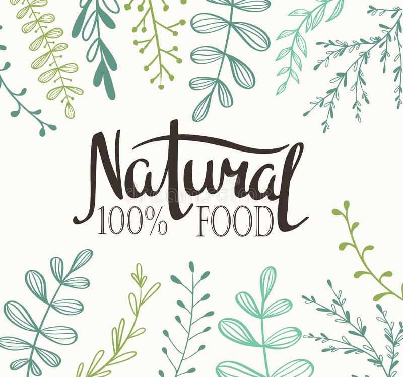 Carte d'Eco avec des usines et marquer avec des lettres la nourriture naturelle 100% illustration libre de droits