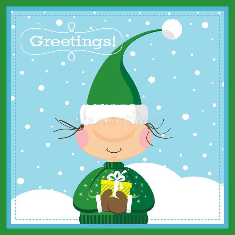 Carte d'elfe et de cadeau de Noël illustration stock