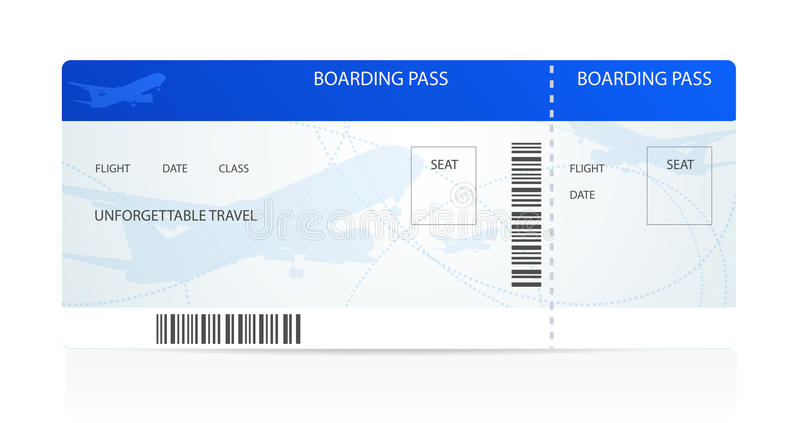 Carte d'embarquement (billet) avec l'avion (avion) illustration stock