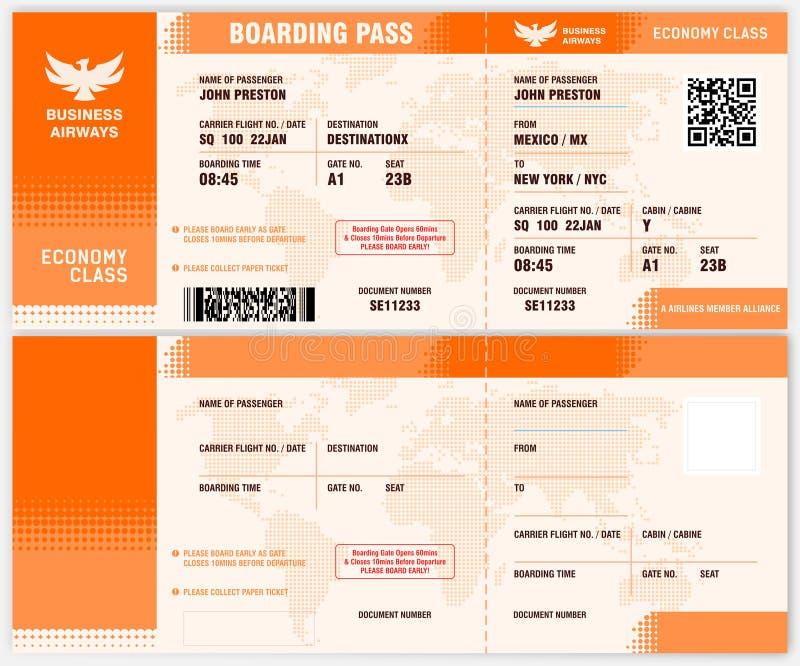Carte d'embarquement Blank Airline illustration libre de droits