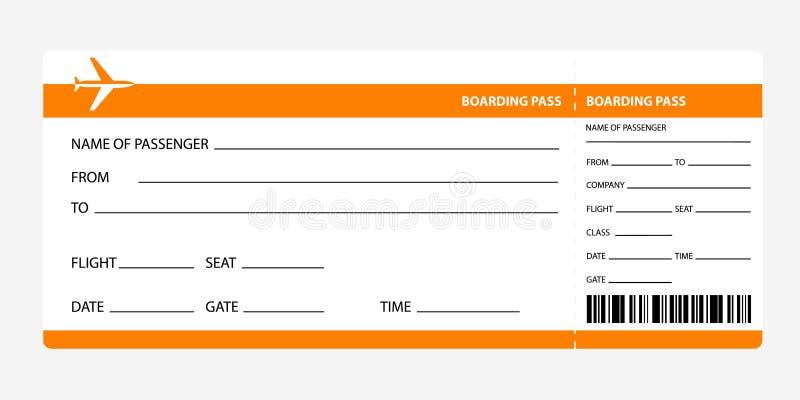 Carte d'embarquement orange illustration stock