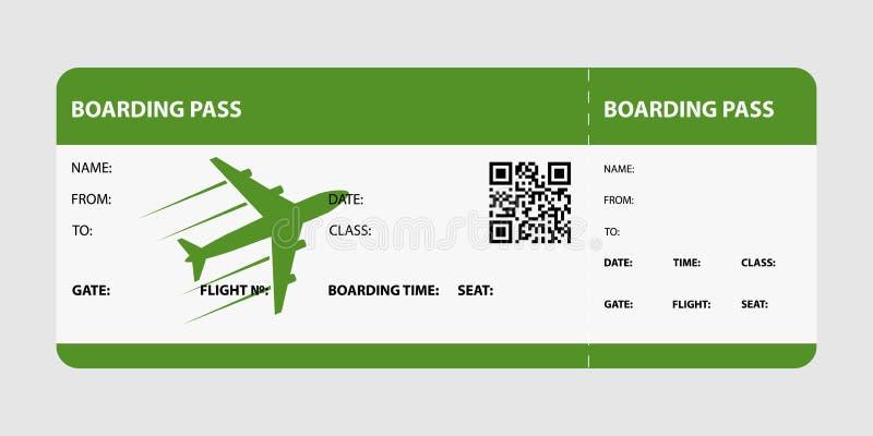 Carte d'embarquement verte illustration de vecteur