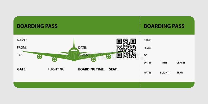 Carte d'embarquement verte illustration libre de droits