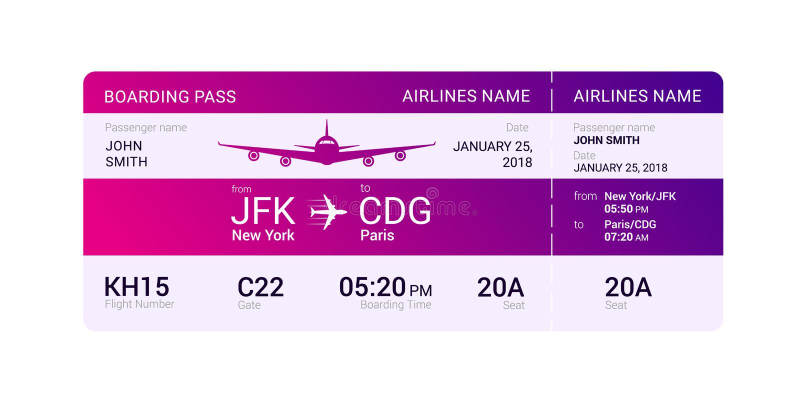 Carte d'embarquement violette illustration stock