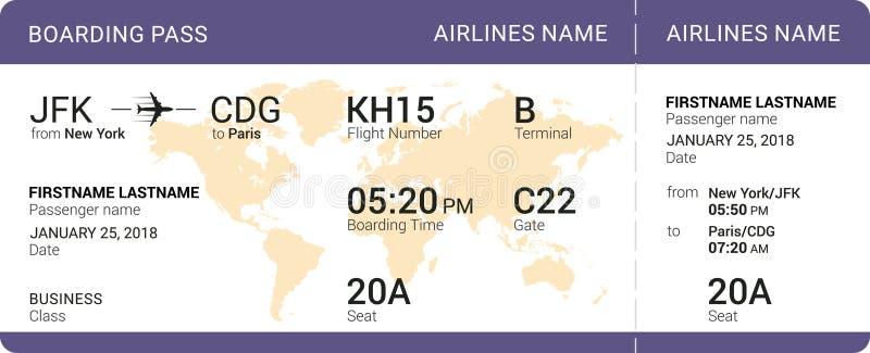 Carte d'embarquement violette illustration libre de droits