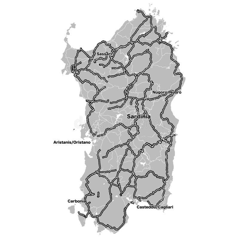 Carte d'ensemble de la Sardaigne avec des steets d'importand illustration de vecteur